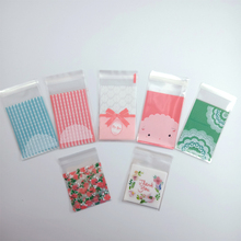 100pcs/lot Kawaii Plastic Bags Thank you Cookie Candy Bag Self-Adhesive For Wedding Birthday Party Gift Baking Packaging