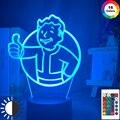 Светодиодный ночник с логотипом Game Fallout Shelter для детей, украшение для спальни, классное событие, призовой Ночной светильник, цветная настоль...