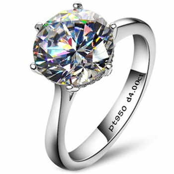 Classic 4 Carat Solitaire Engagement Ring 6 Claws NSCD Ring for Women 925 Sterling Silver Wedding Ring - DISCOUNT ITEM  71 OFF Jewelry & Accessories