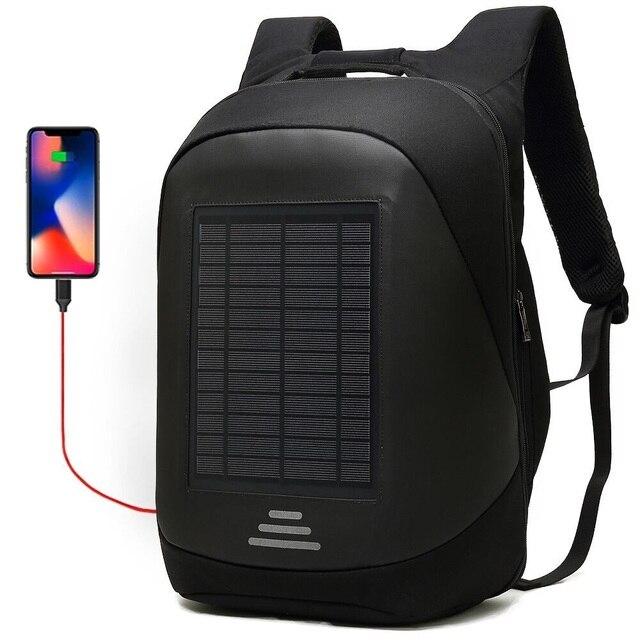 15.6' Laptop Solar Backpack Large iPad Bag USB Charging Business Backpacks Traveling Daypack anti theft backpack Male Mochila 1