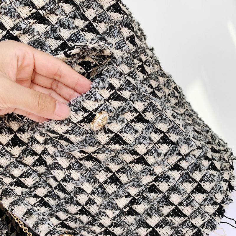 2020 primavera novo design feminino moda houndtooth