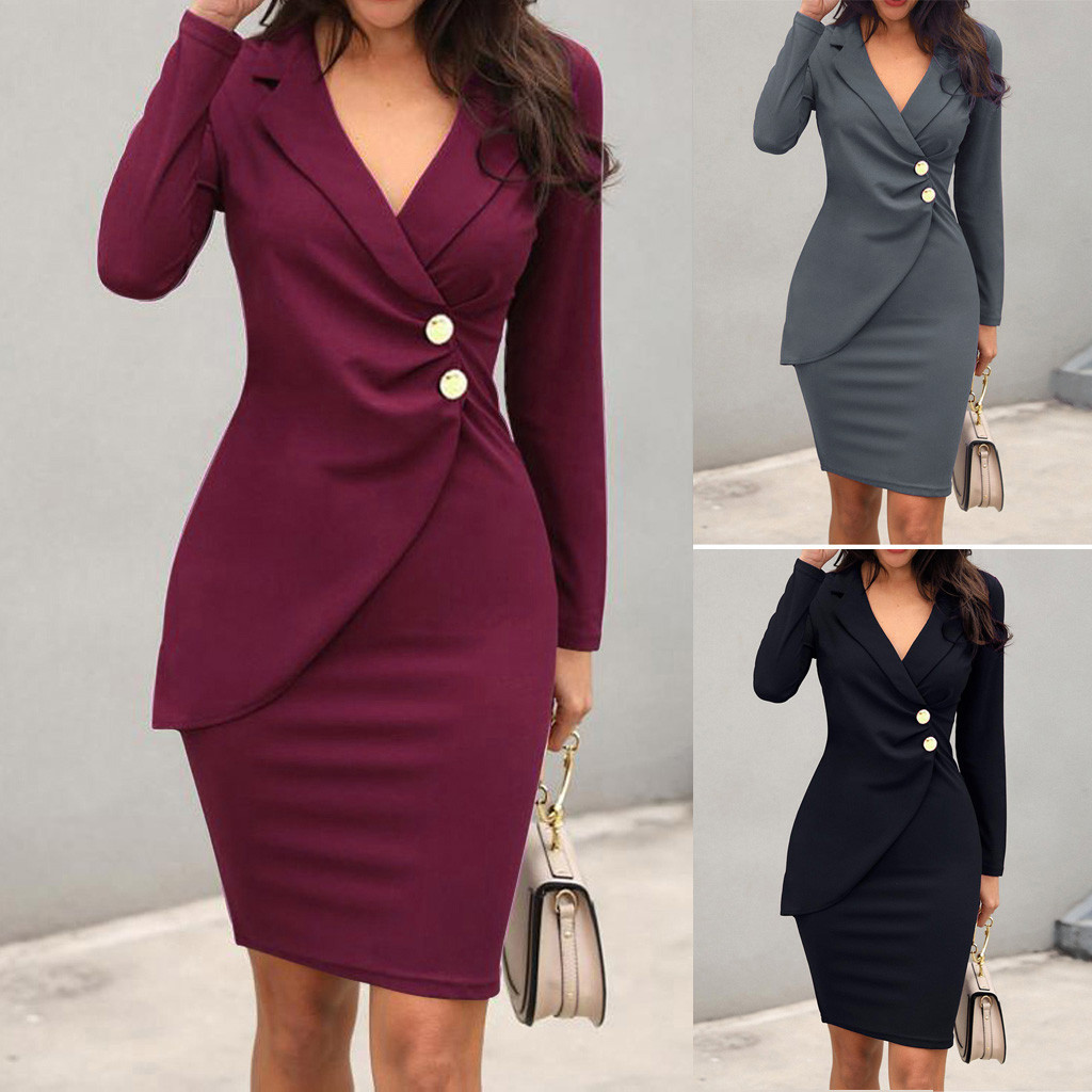 Fashion suit women blazer dress Office Ladies Solid Turn Down Neck Long Sleeve Buttons Bodycon Work Formal Dress Free Ship Z4