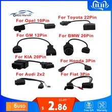 OBD OBD2 التشخيص كابل ل GM 12 دبوس إلى 16 دبوس OBD 2 موصل محول ل BMW 20 دبوس OBDII elm327 لأوبل Opcom 10 دبوس