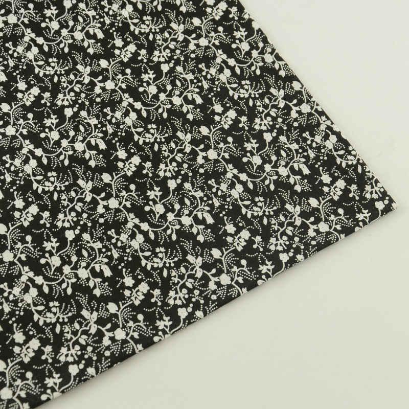 Tejido de algodón negro con diseño de flores elegantes, para costura de muñecas Tilda, novedad, 2016