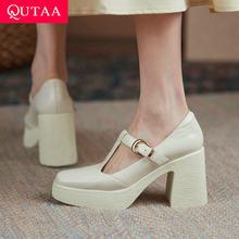 QUTAA 2021 prawdziwej skóry kwadratowych szpilki wiosna jesień buty damskie platforma T pasek z klamrą plac Toe kobiety pompy rozmiar 34-40