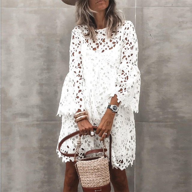 2021 New Lace Flared Sleeve Ruffled Dress Two-Piece Female Spring And Summer Solid O-Neck Elegant Casual Party Dresses S-5XL 1