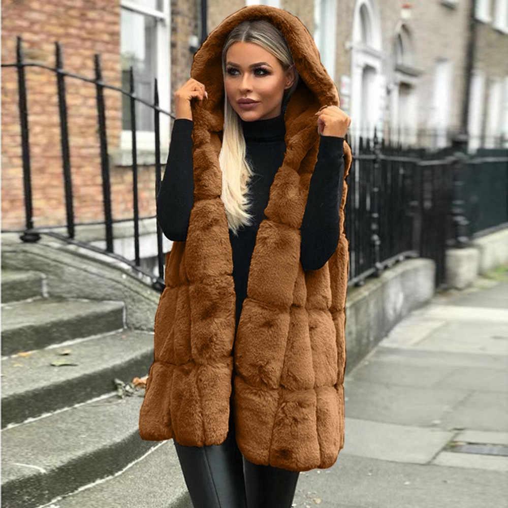 Femmes sans manches gilet à capuche manteau automne hiver solide chaud longue laine manteau femmes Outwear chalecos gilets manteau para mujer grande taille