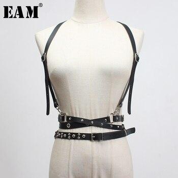 [EAM]  Pu Leather Buckle Rivet Split Long Wide Strap Belt Personality Women New Fashion Tide All-match Spring 2020 1S922