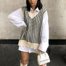 Mode femmes tricoté gilet pulls col en V sans manches pied de poule tricoté pull pulls coréen pull à carreaux en vrac gilet