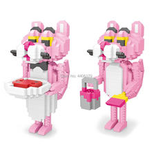 hot LegoINGlys creators classic Funny Cartoon image Panther Pink mini micro diamond building blocks model nano bricks toys gifts стоимость