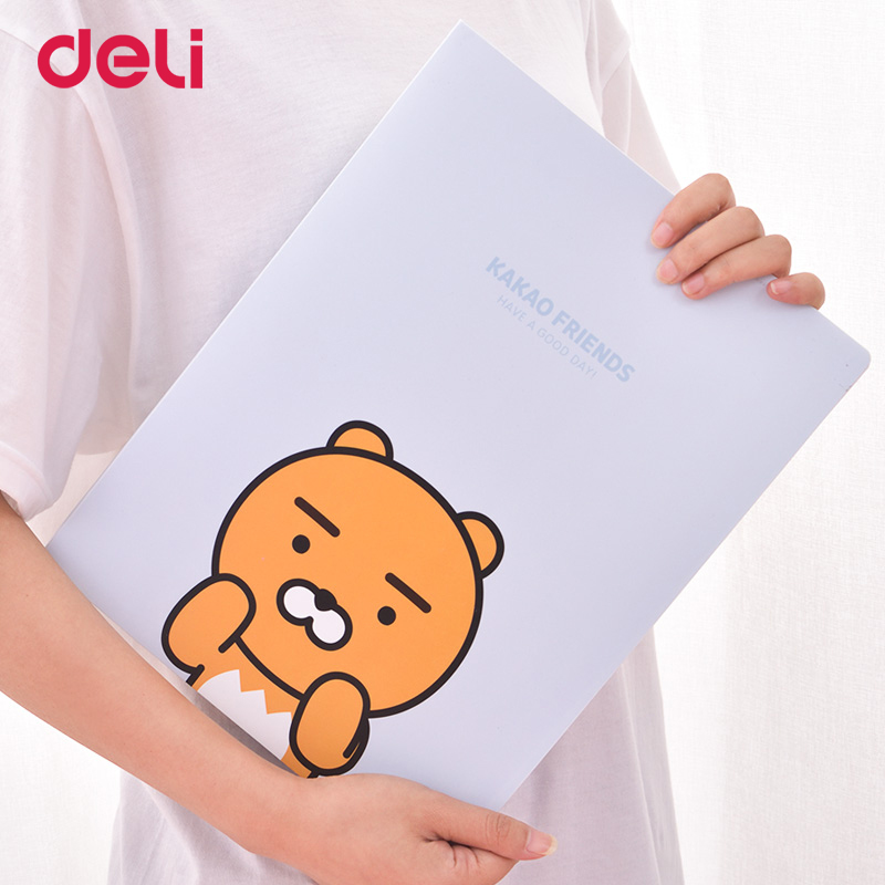 Deli Cute KAKAO FRIENDS 20/30/40 Sheets Folder Portable Transparent Multi-function Insert Information Booklet A4 Binder File Bag