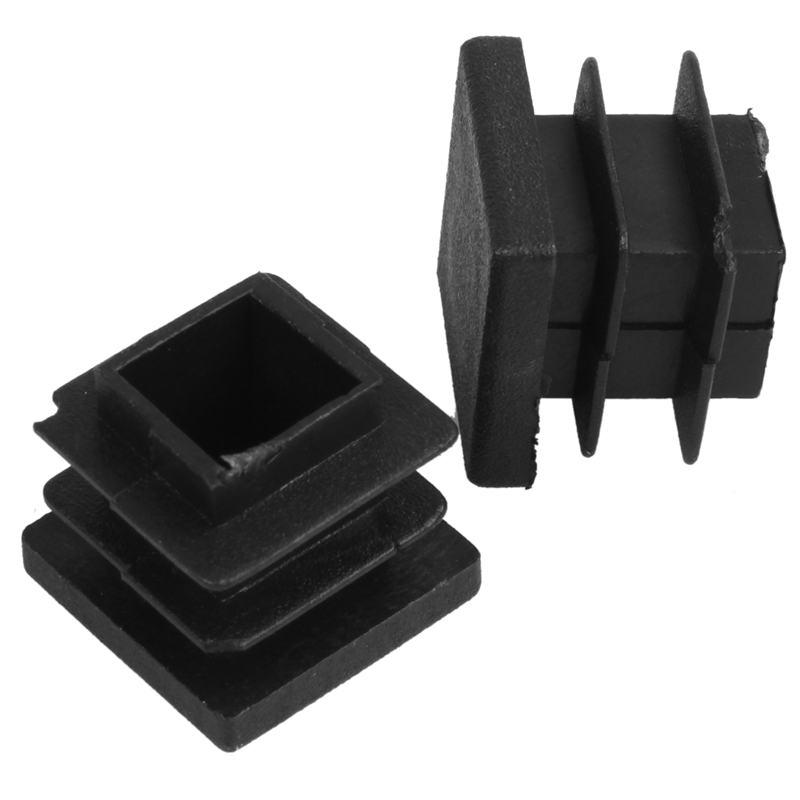 ABFU-12 Pc 16mm X 16mm Square Striated Plastic Table End Plugs Inserted Tube Black