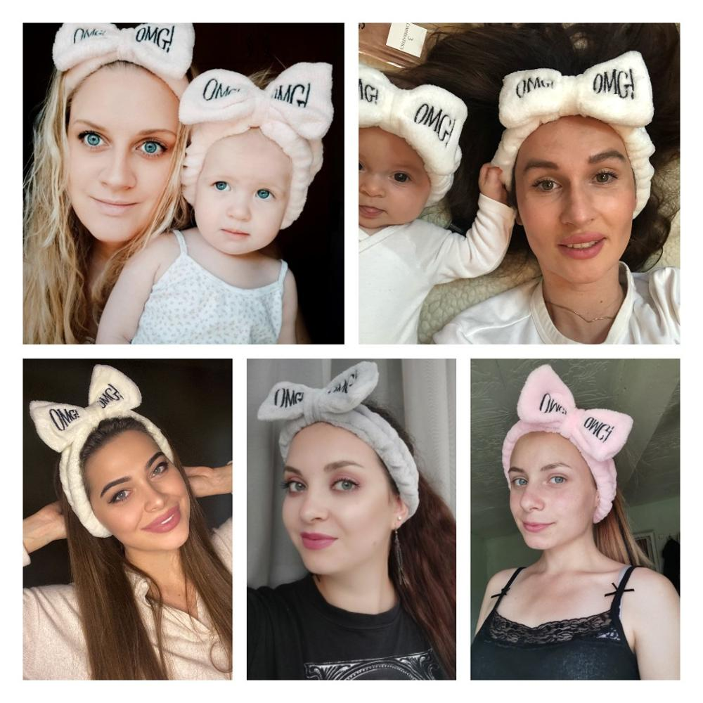 2020 New OMG Letter Coral Fleece Wash Face Bow Hairbands For Women Girls Headbands Headwear Hair Bands Turban Hair Accessories