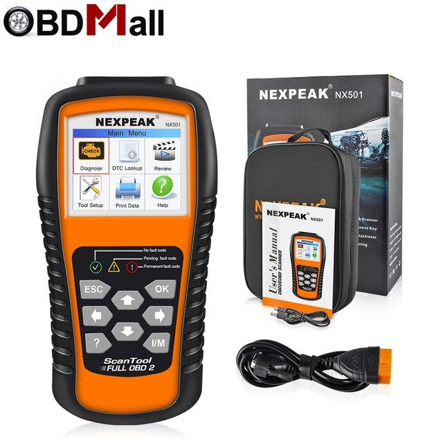 Nexpeak nx501 obd2 scanner automotivo motor do carro ferramenta de diagnóstico completa obd 2 protocolos análise dados suporte impressão/atualização