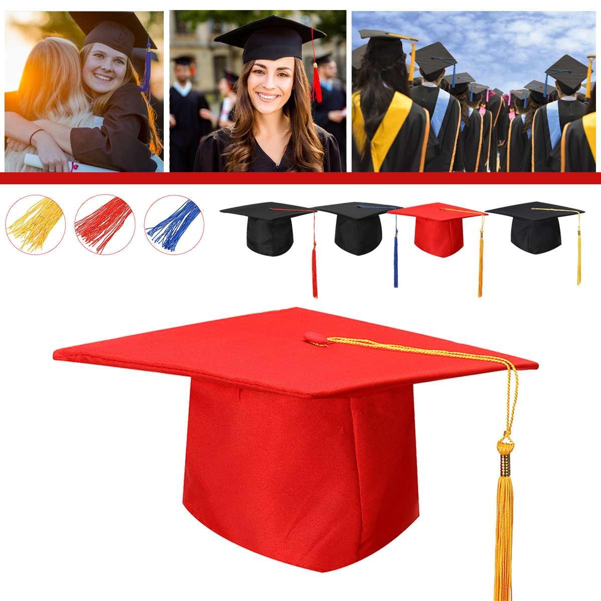 Hat College Bachelor Doctor Chancellor Graduation Board Cap Tassel Costume Party