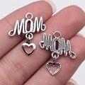 WYSIWYG 10 шт 24x20 мм старинное серебро Цвет мама подвеска в форме сердца для самостоятельного изготовления ювелирных изделий