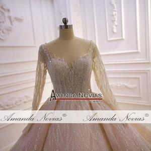 Image 5 - Потрясающее Свадебное платье с длинными рукавами и бисером 2020 Дубай