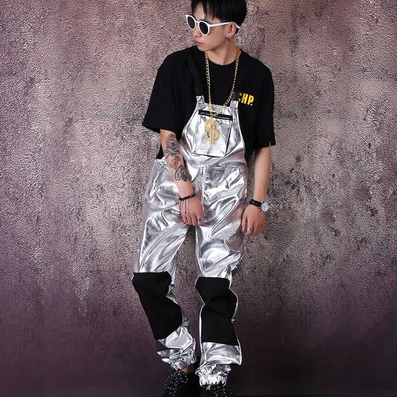 Men Streetwear Hip Hop Punk Silver Leather Overalls Jumpsuit Pant Male Women Fashion Casual Bib Pant Harem Trouser Stage Costume