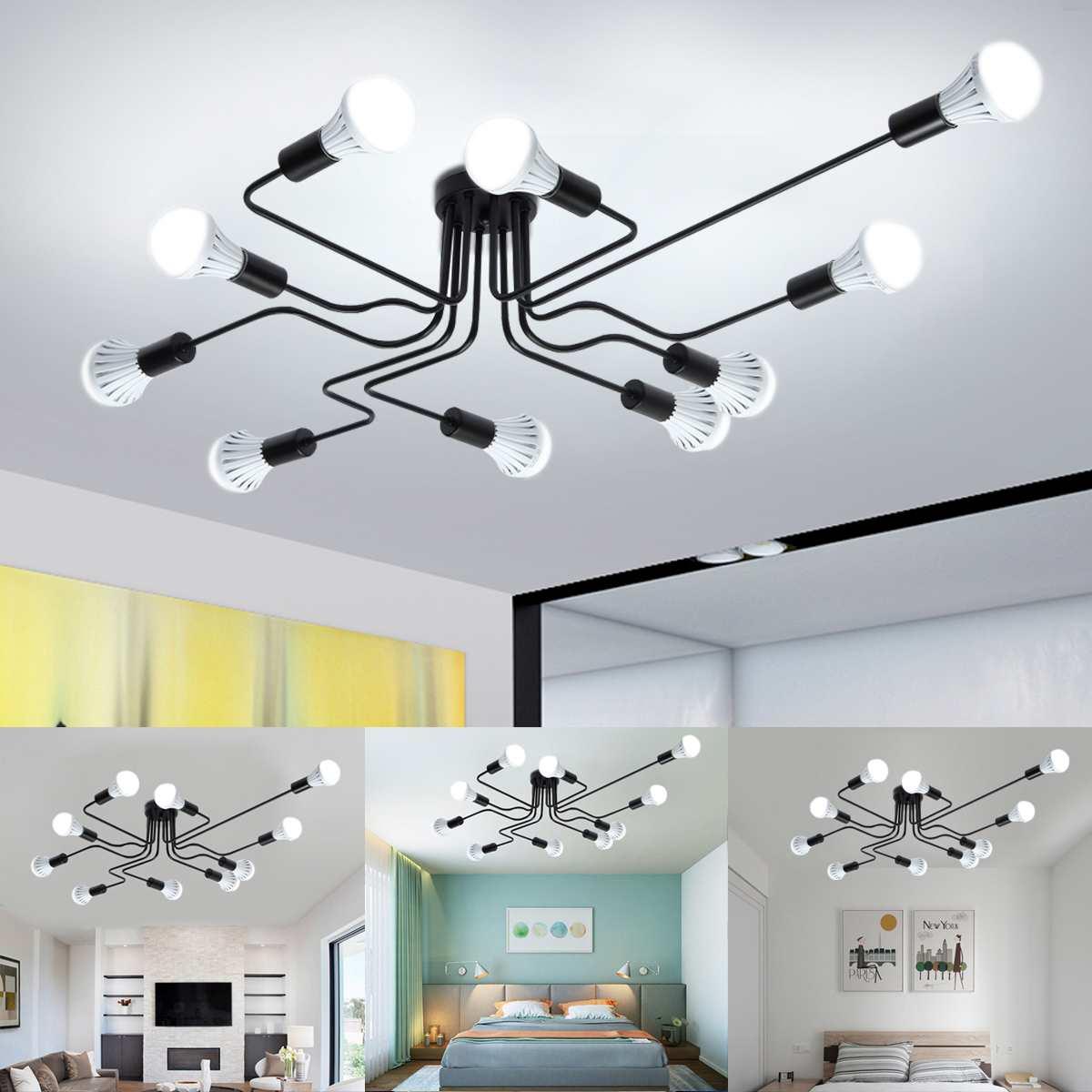 Современная Потолочная люстра E27, светодиодный светильник с 4/6/10 головками, для гостиной, спальни, люстры, домашние светильники, винтажная лампа|Потолочные лампы|   | АлиЭкспресс