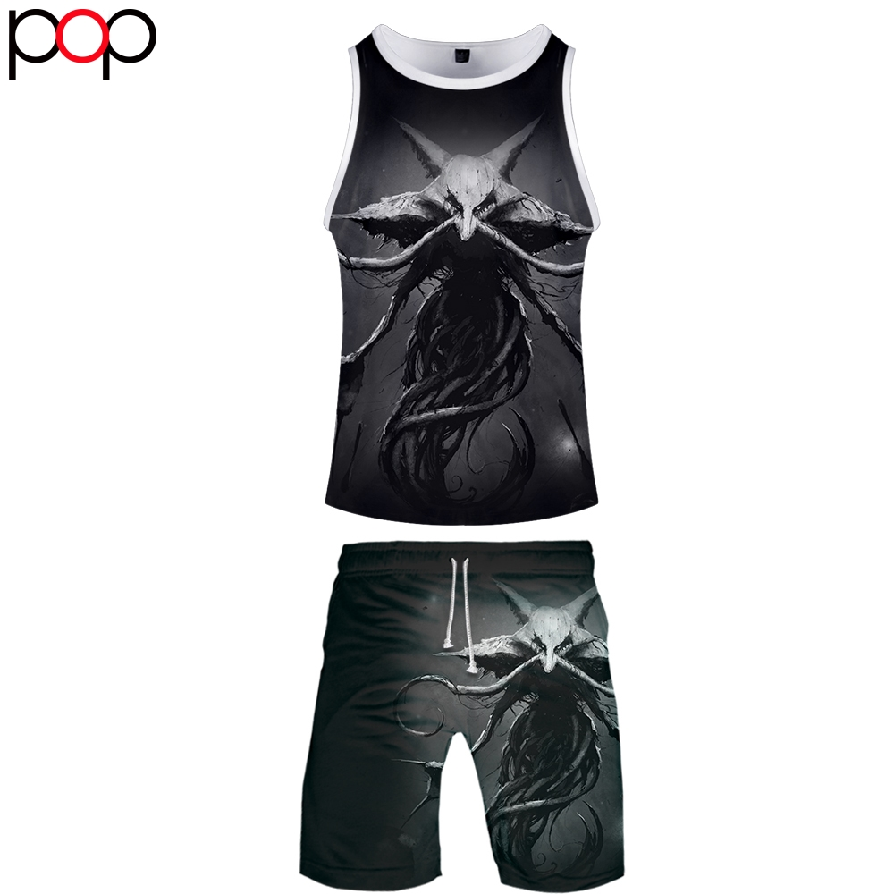 Summer Men Causal Beach Sleeveless Vest Sleeve Shorts Sweatsuit+Pants Quick-dry Tracksuit Men Sports Suits Horror Treasure Dream