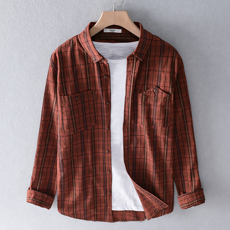 Frence Style Brand Plaid Shirts Men Cotton Trend Shirt For Men Long-sleeved Spring Summer Shirt Mens Casual Shirts Male Camisa