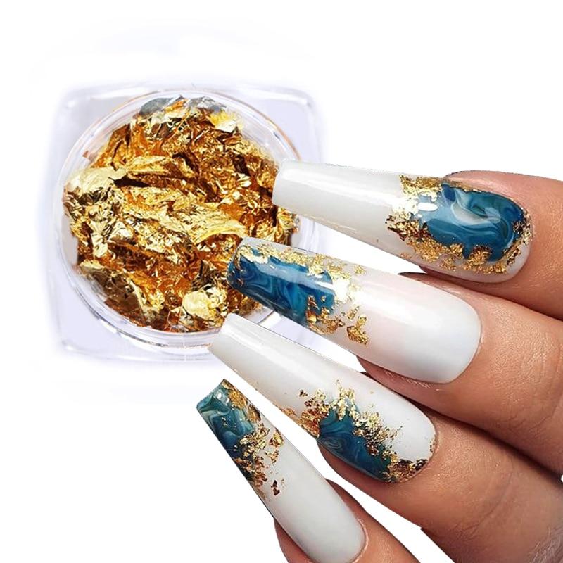 Золото, серебро, Алюминий фольга для ногтей с блестками, рисунки на ногтях нерегулярные хлопья ногтей маникюрный набор дизайн наклейки деко...