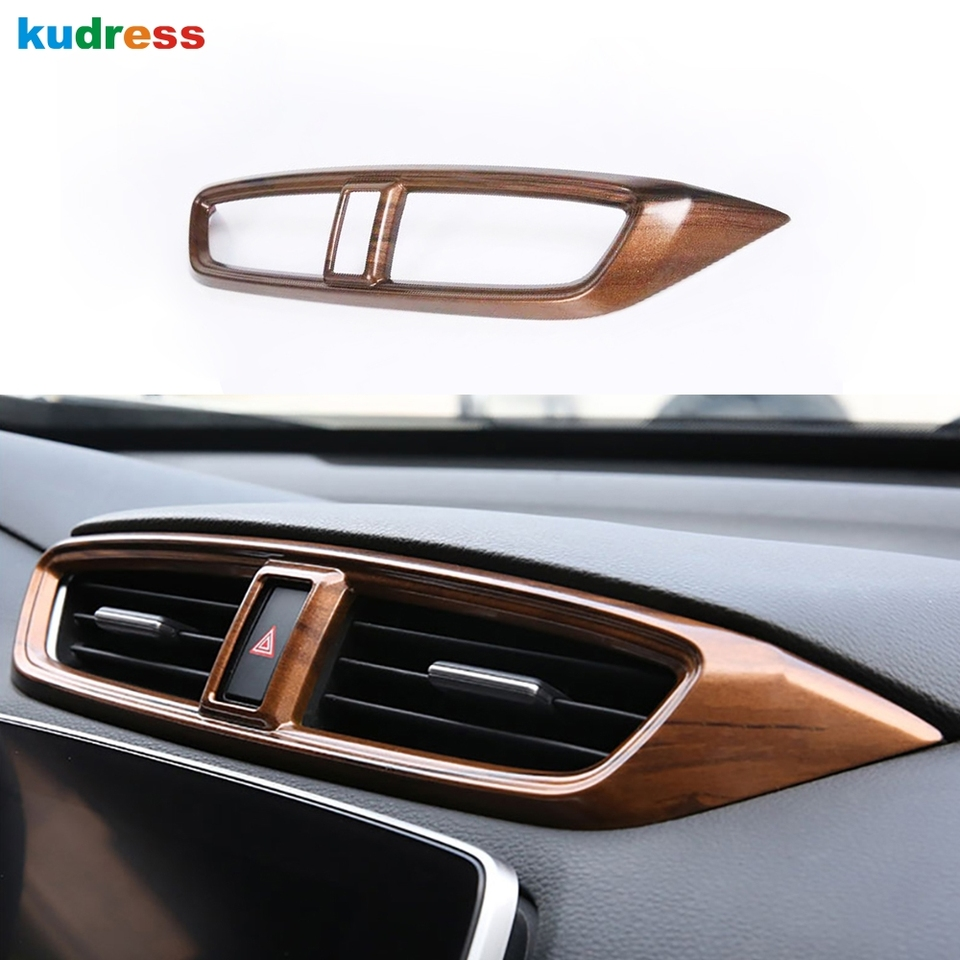 KIMISS 2pcs Front Side Air Conditioning Outlet Vent Cover Panel Sticker Interior Trim for Honda CRV 2017 Peach Wood Grain