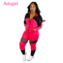 Adogirl Sheer Mesh Patchwork Women Tracksuit 2019 Autumn New Casual Two Piece Set Zipper Long Sleeve Jacket Top + Pants Suit