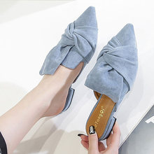 Vrouwen/тапочки из флока с бантиком; Офисные туфли бабочкой;