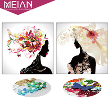 Meian 3D DIY Diamond Embroidery 5D Diamond painting Diamond mosaic woman needlework Crafts Christmas Home decoration