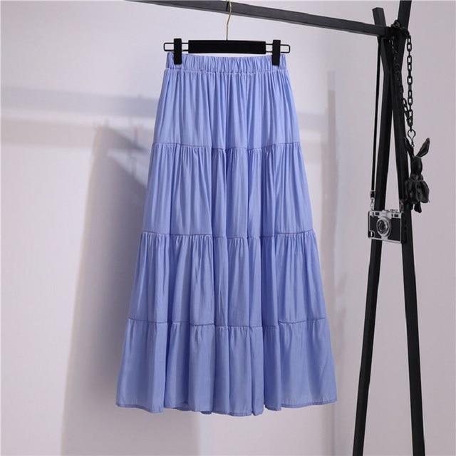 SURMIITRO Korean Style Long Skirt Women For Spring Summer 2021 Blue White Black High Waist Sun School Midi Pleated Skirt Female 2