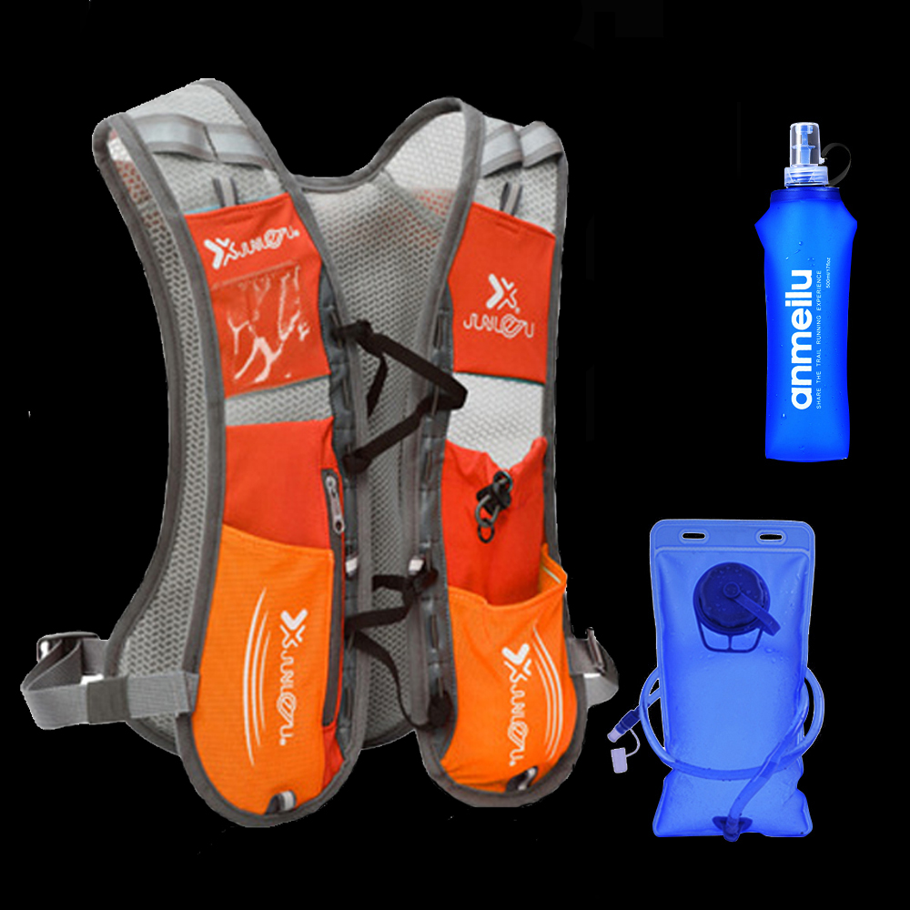 5L Running Hydration Backpack Rucksack Bag Vest Harness Water Bladder Hiking Camping Marathon Race Sports Orange