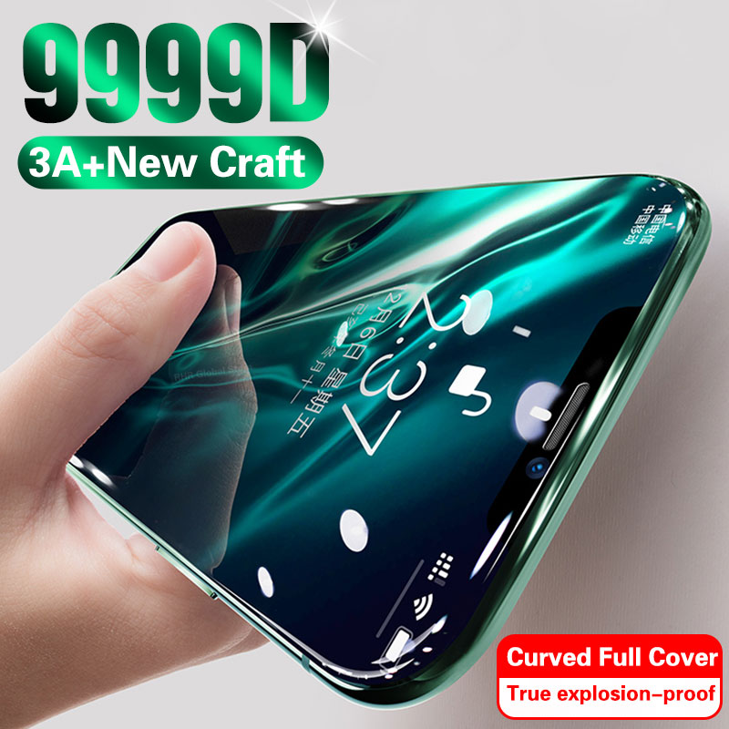 9999D 3A Curved Glass On For IPhone 11 Pro XS MAX XR X Full Cover Screen Protector Tempered Glass For IPhone 10 7 8 6s Plus Film