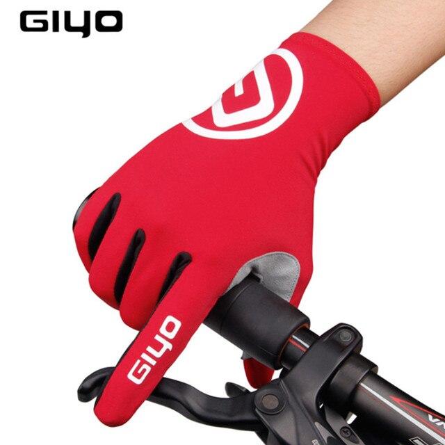 Giyo tela sensível ao toque longo dedos completos gel luvas de ciclismo esportes mtb bicicleta de estrada equitação luvas de corrida 1