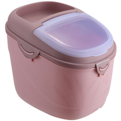 LIXF Pink New Storage Box Plastic Sealed Container Rice Dried Food Cereal Dispenser Storage Case-15Kg