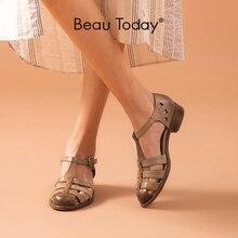 BeauToday Gladiator Sandals Women Sheepskin Genuine Leather Cover Heel Buckle Strap Summer Ladies Low Heel Shoes Handmade 33020