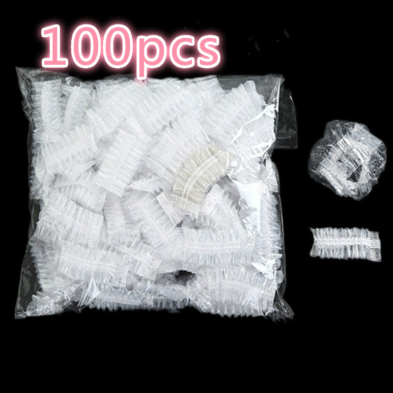 Hot 100pcs Disposable Plastic Waterproof Ear Protector Cover Caps Salon Hairdressing Dye Shield Protection Shower Cap Tool