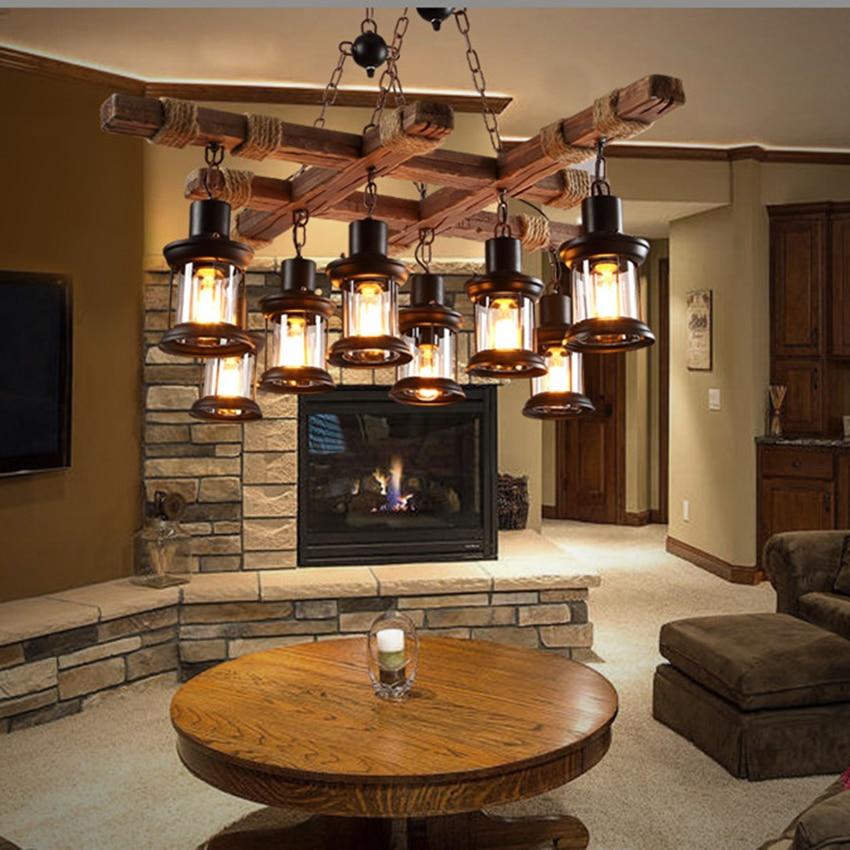 Suspension lumineuse industrielle en bois massif, Bar Vintage, lampes suspendues en bois massif, personnalité, Suspension en bois de vieux bateau