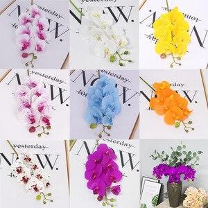 Image 3 - Orquídea de mariposa de poliuretano Real al tacto, flores artificiales para casa, decoración de fiestas de bodas, regalo de Navidad