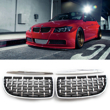 Diamond Style Car Racing Grill For BMW 3 Series E90 E91 2005 2006 2007 2008 Gloss Black Front Bumper Kidney Grilles 51137117242