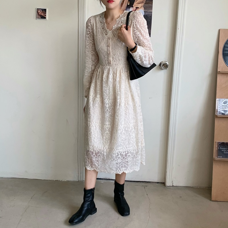 H9cc39b1f767d4fdfae51778d31a2e0b0M - Spring / Autumn V-Neck Long Sleeves Lace Midi Dress