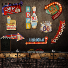 LEDIARY Restaurant Bar LED Wall Lamp Cafe Decor Big Sconce Lighting Iron Art Route 66 Cola Ice Cream Remote Control Wall Lights недорого