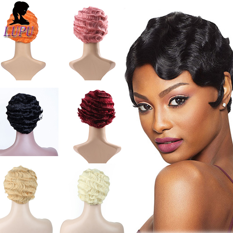 Short Finger Wave Wig Synthetic Black Pink Red Cosplay Hair High Temperture Fiber Non Remy Cosplay Wigs For Black Women LUPUWIG