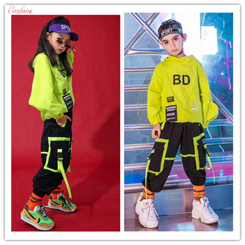 Hip Hop Clothes Kids Dance Costumes Winter Neon Green Long Sleeve Suit Jazz Street Wear Children's Day Hip Hop Jazz Outfits Set