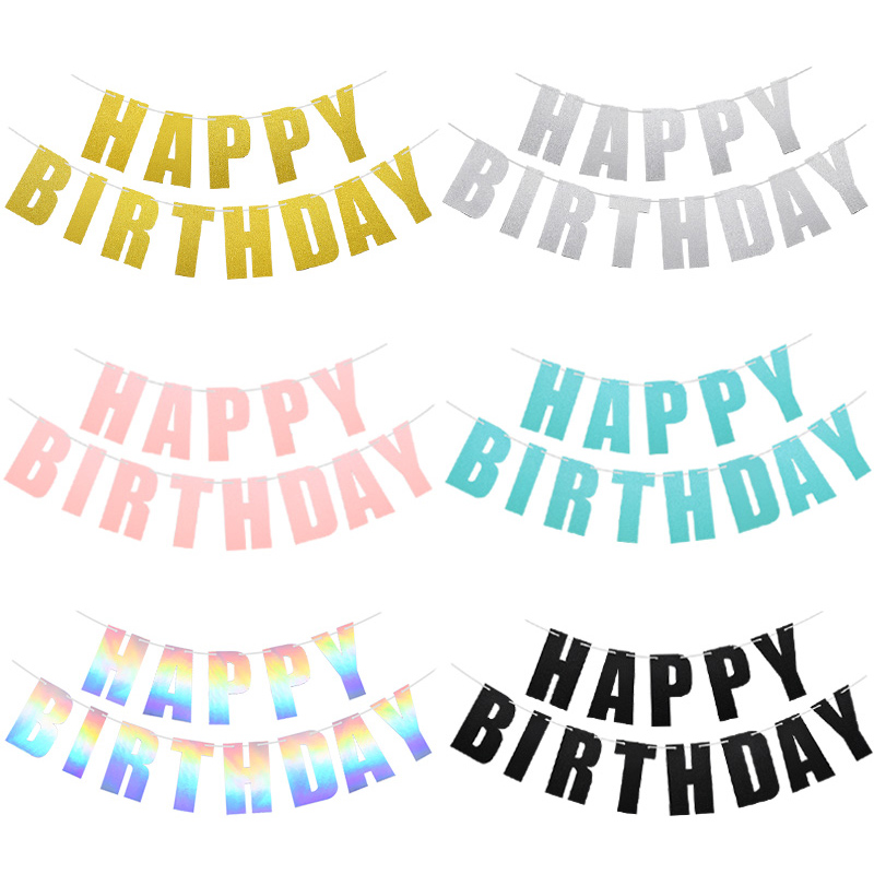 1Set Happy Birthday Banner Birthday Party Decoration Banner Gold Letters Hanging Garland Photo Props Bunting Garland