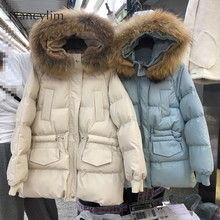 New Long Parkas Female Womens Winter Jacket Coat Thick Cotton Warm Outwear Real Fur Collar Hood 2019