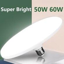 E27 Bóng Đèn Led 220V Đèn LED Sáng 15/20/30/40/50W 60W UFO Ốp Nổi Bombillas Ampoule Đèn Led Để Chiếu Sáng Gia Đình Trắng