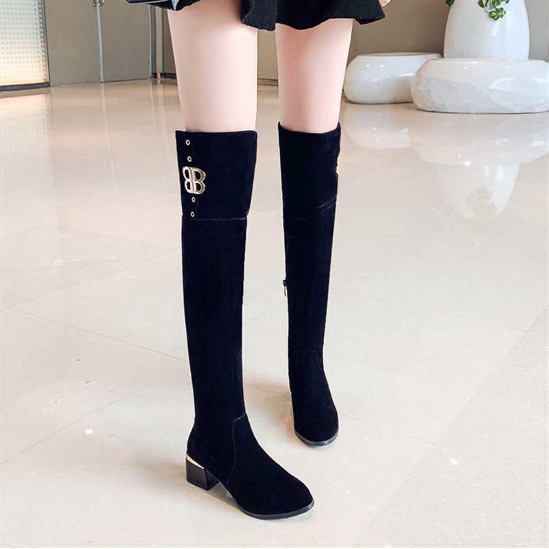 Grande taille 34-43 nouvelle mode Faux daim Slim bottes sur le genou hiver femmes bottes Sexy cuissardes bottes femme à talons hauts