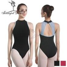 สีดำผู้ใหญ่ leotard สำหรับผู้หญิงผ้าฝ้าย Lycra เซ็กซี่บัลเล่ต์ leotards เต้นรำเครื่องแต่งกายสำหรับสาว bodysuit Ballet clothesCS0713