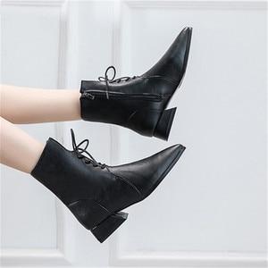 Женские кожаные ботинки до середины икры, с острым носком, на молнии сбоку, на квадратном каблуке, на шнуровке, Размеры 35-40, для осени и зимы